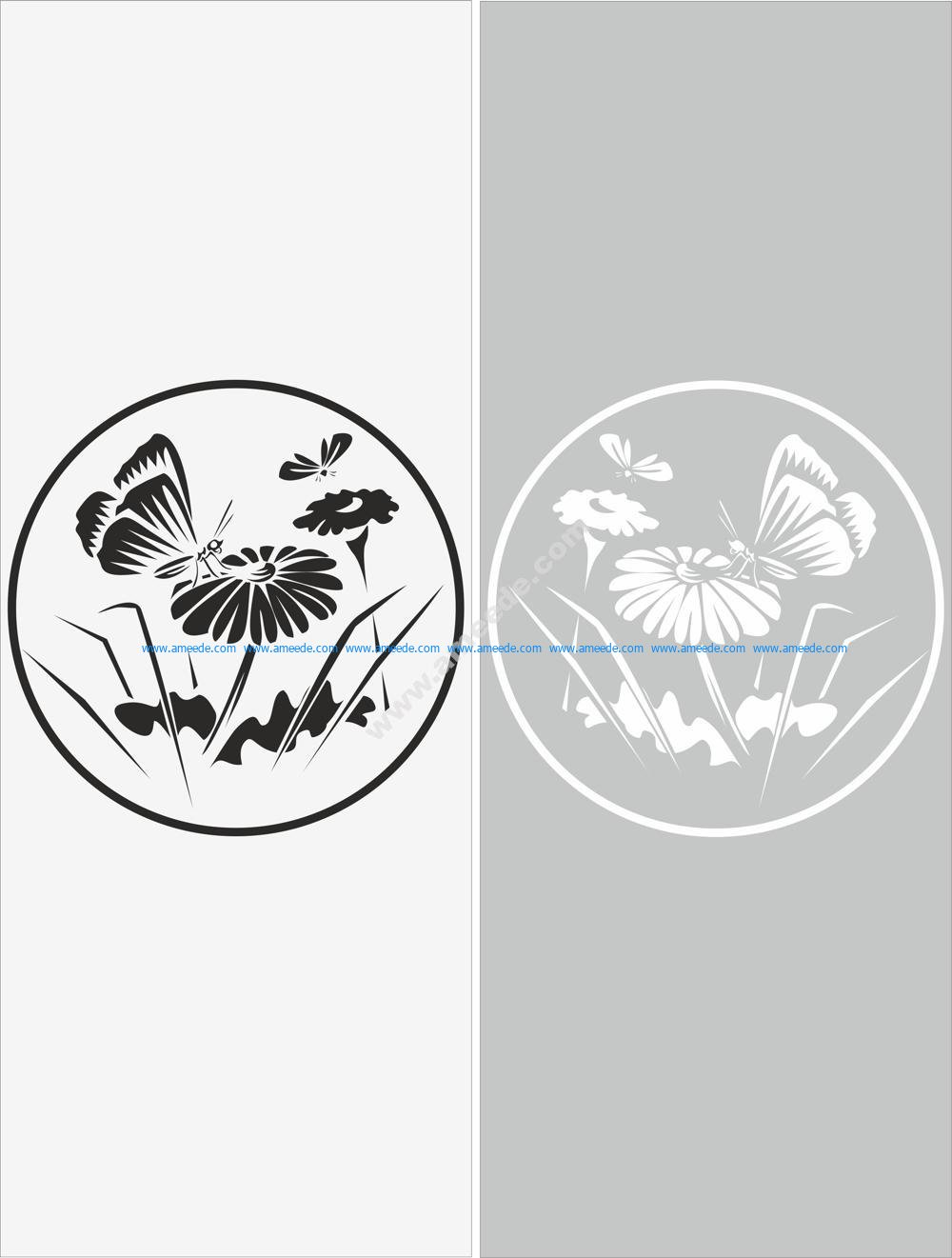 Glass Floral Sticker Decal Vector