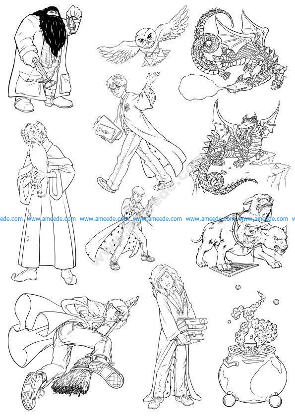 Harry Potter Line Art Vectors