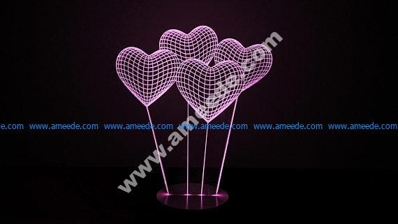 Heart 3D illusion Lamp