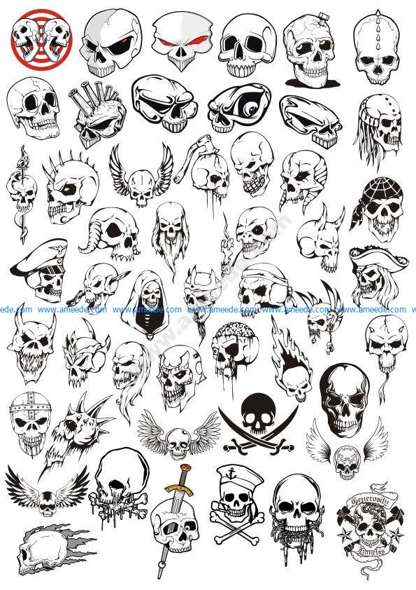 Horror Halloween Skulls Vector Set