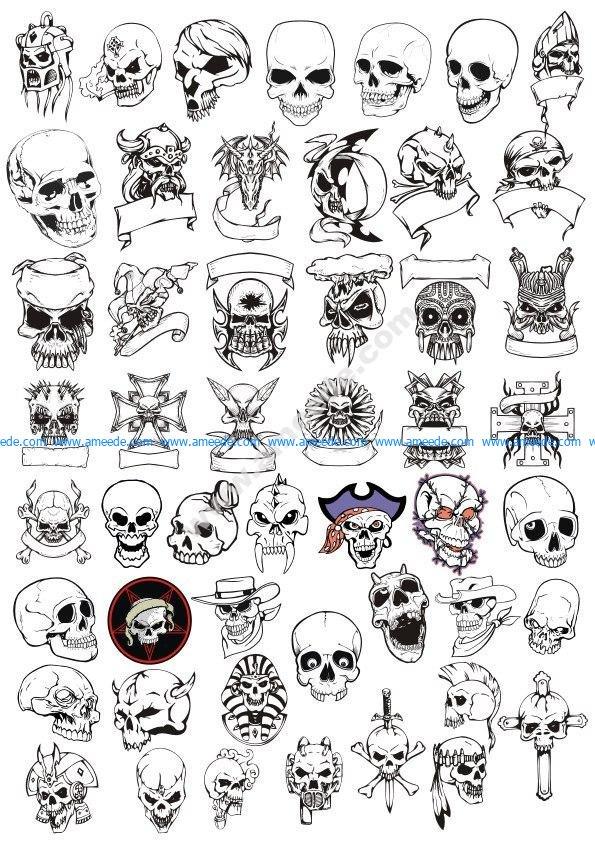 Horror Skulls Vector Art Collection