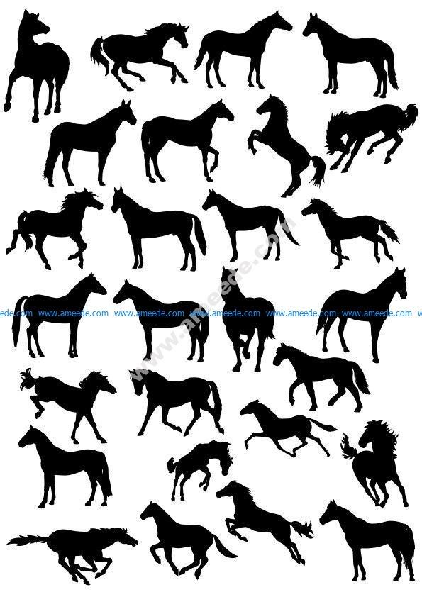 Horses Silhouette Vector Pack
