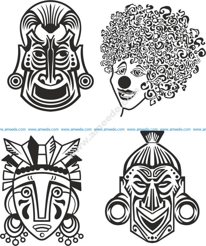 Indian Aztec African Historic Tribal Mask Vector