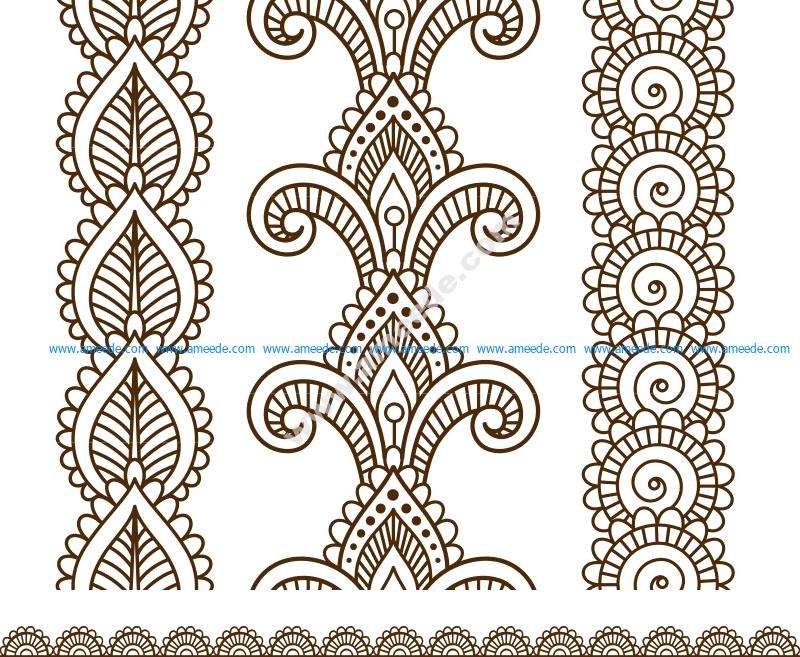 Indian, Mehndi Henna line lace elements patterns