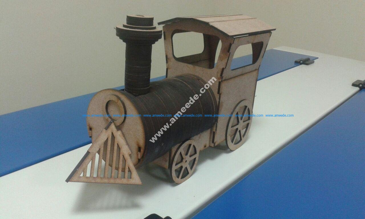 Laser-Cut Locomotive Wooden Toy