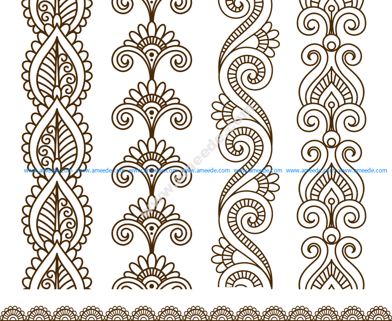 Mehndi style ornamental flower for tattoo