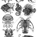 Ornament Sea Amimals Art Vector Pack