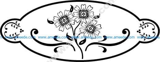 Oval Flower Design EPS