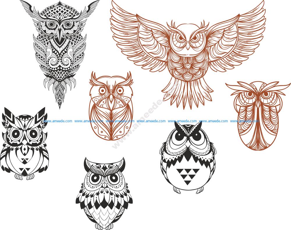 Owl designs collection Vector Art