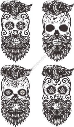 Painted Bearded Mustache Skull