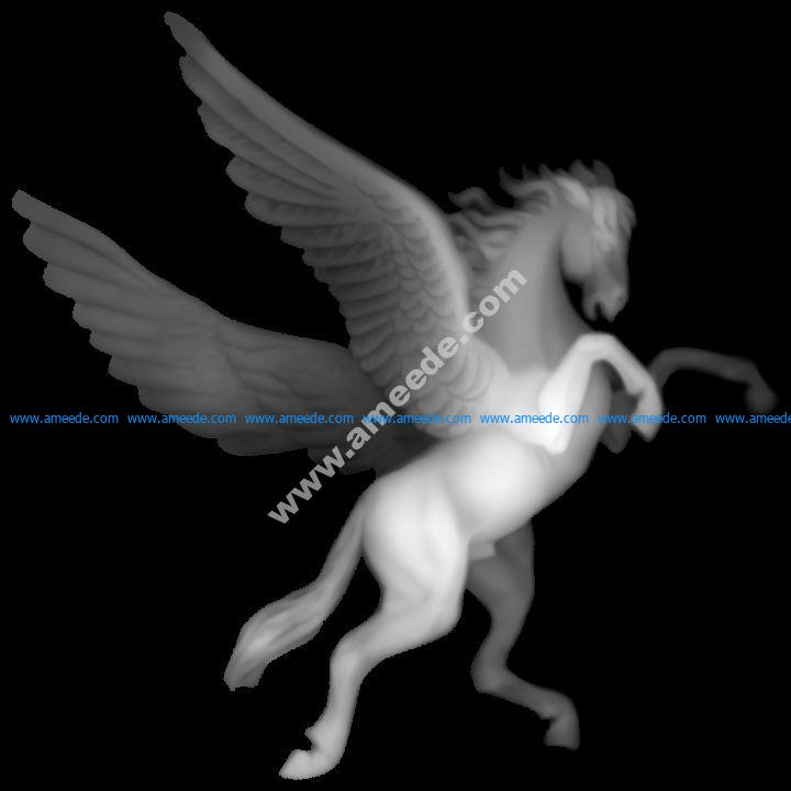 Pegasus carved relief map grayscale BMP File