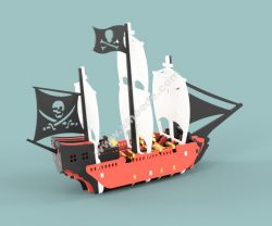 Pirate Ship Vector file for laser cutting CNC