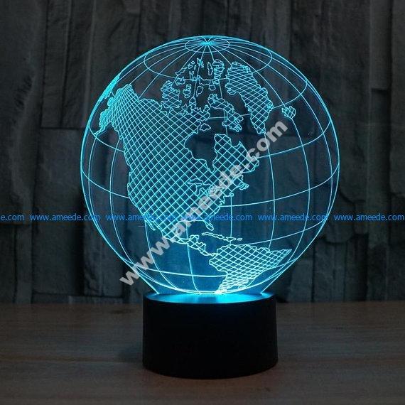 Planet Earth 3d illusion acrylic lamp