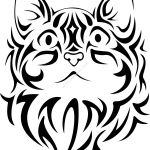 Pretty Tribal Cat Face Silhouette Vector