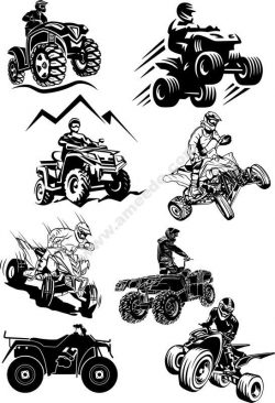 Quad Bike Silhouette vectors