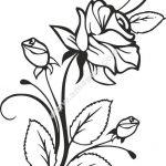 Rose and Rosebuds Beautiful Flower Stencil