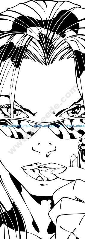 Sandblast woman face pattern