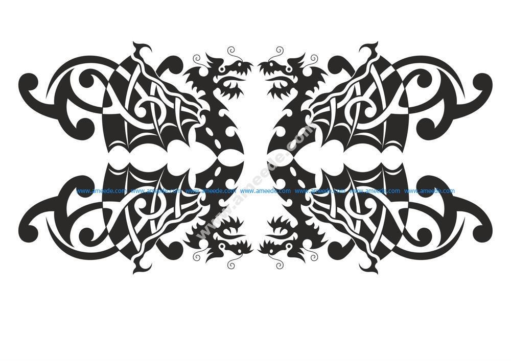 Silhouette Dragon vector art