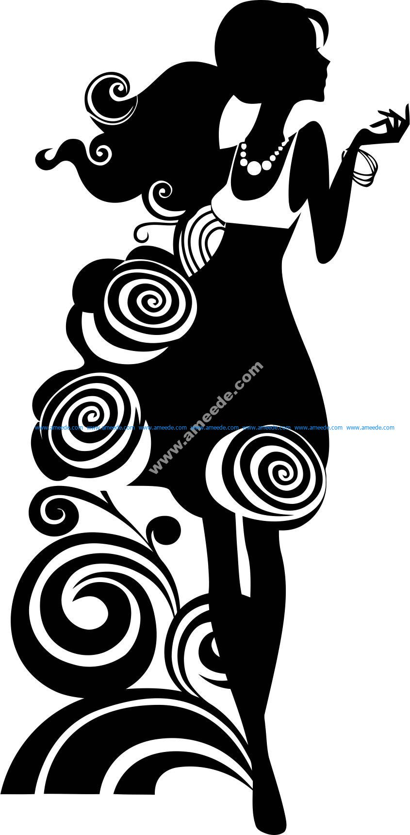 Silhouette Of Elegant Woman Vector