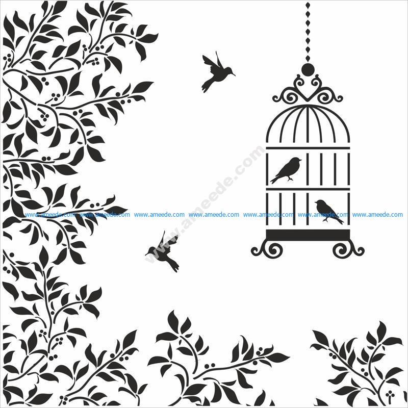 Silhouettes Birds Cage Flowers Illustration