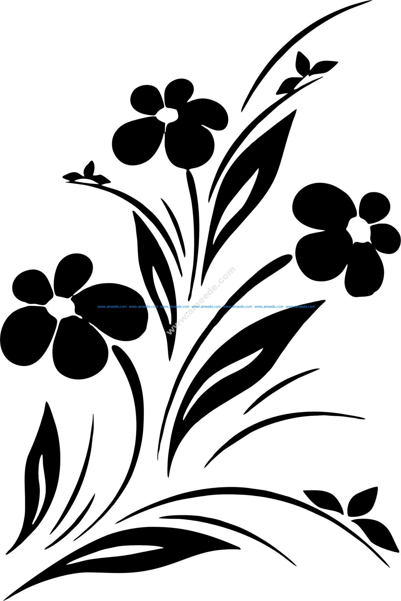 Simple Flower Designs Black And White Vector Art Jpg Download Free