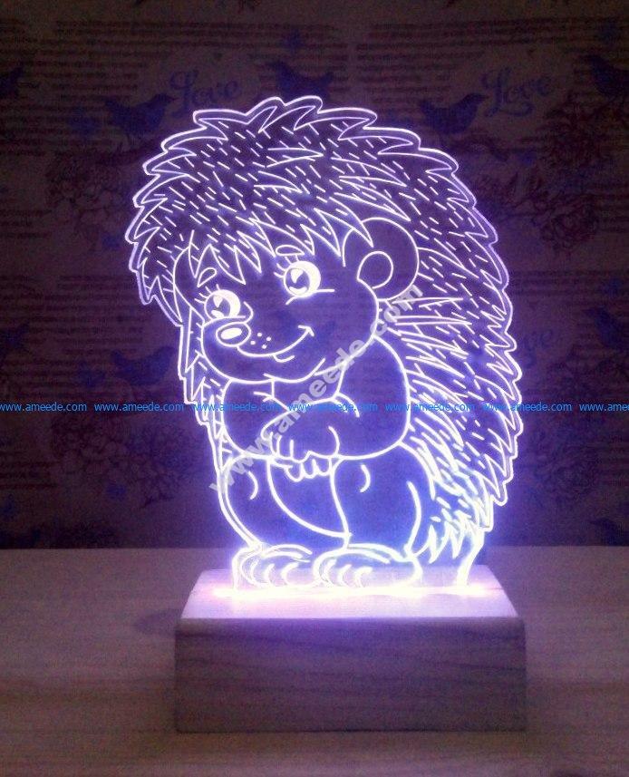 Sitting Hedgehog 3D Lamp Model