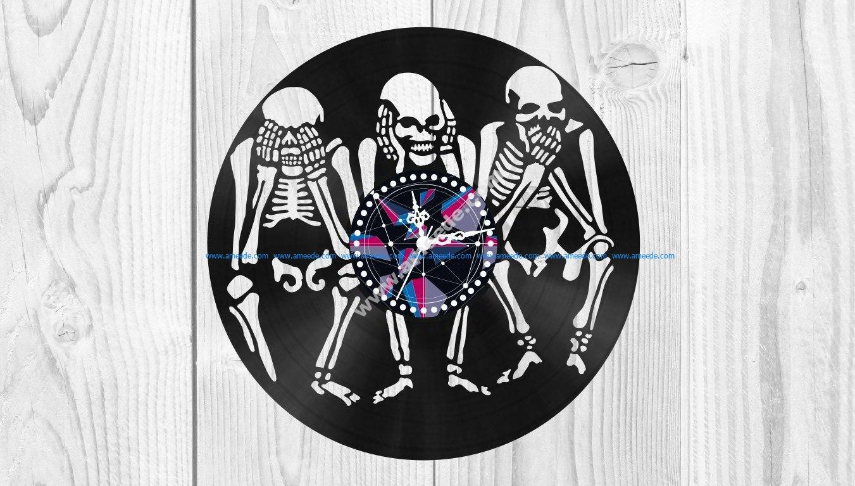 Skeletons Vinyl Clock