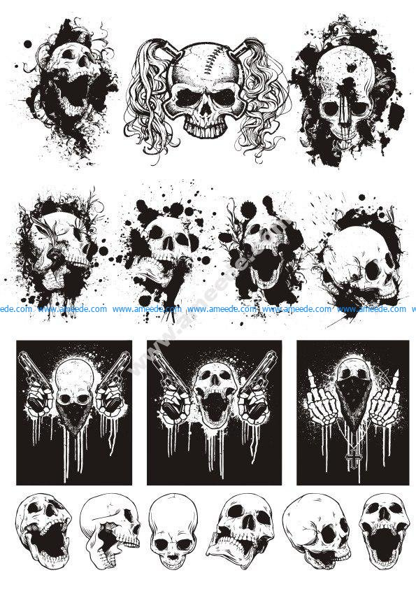 Skull T-shirt designs logos vector set