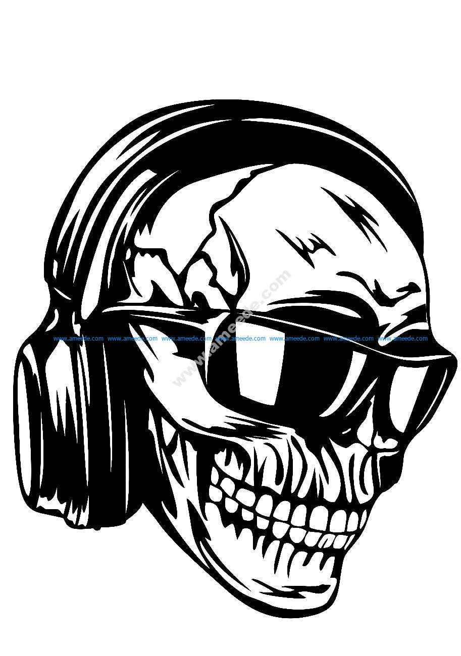 Skull headphones sunglasses vector art