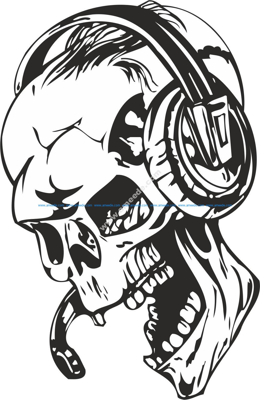 Skull with Headphones Sticker Vector