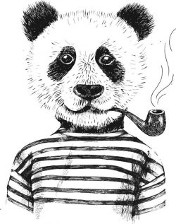 Smoking Panda Vector Art