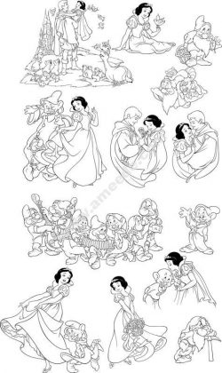 Snow White and the Seven Dwarfs Line Art