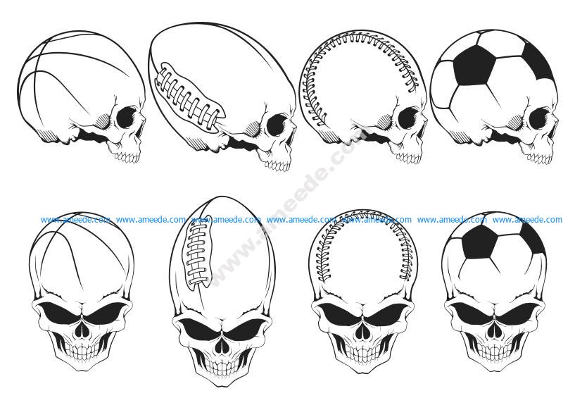 Sport Skulls Vector Pack