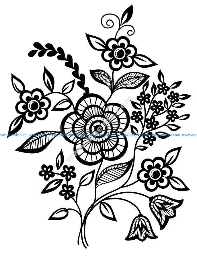 Stunning Black And White Flower Vector Art jpg