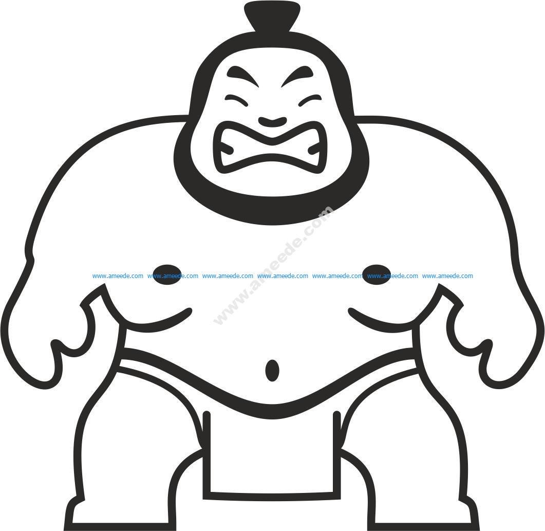 Sumo Wrestler Sticker Vector