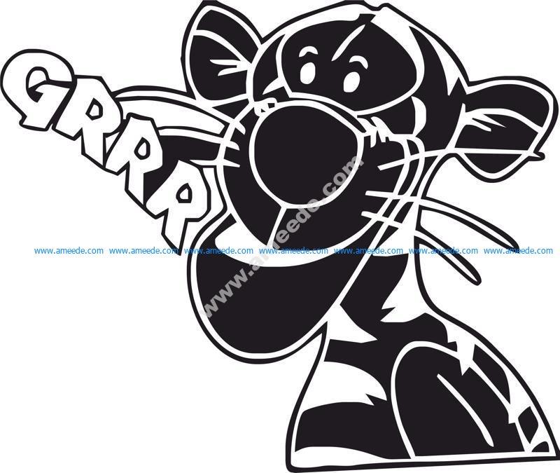 Tigrrr Funny Sticker Vector