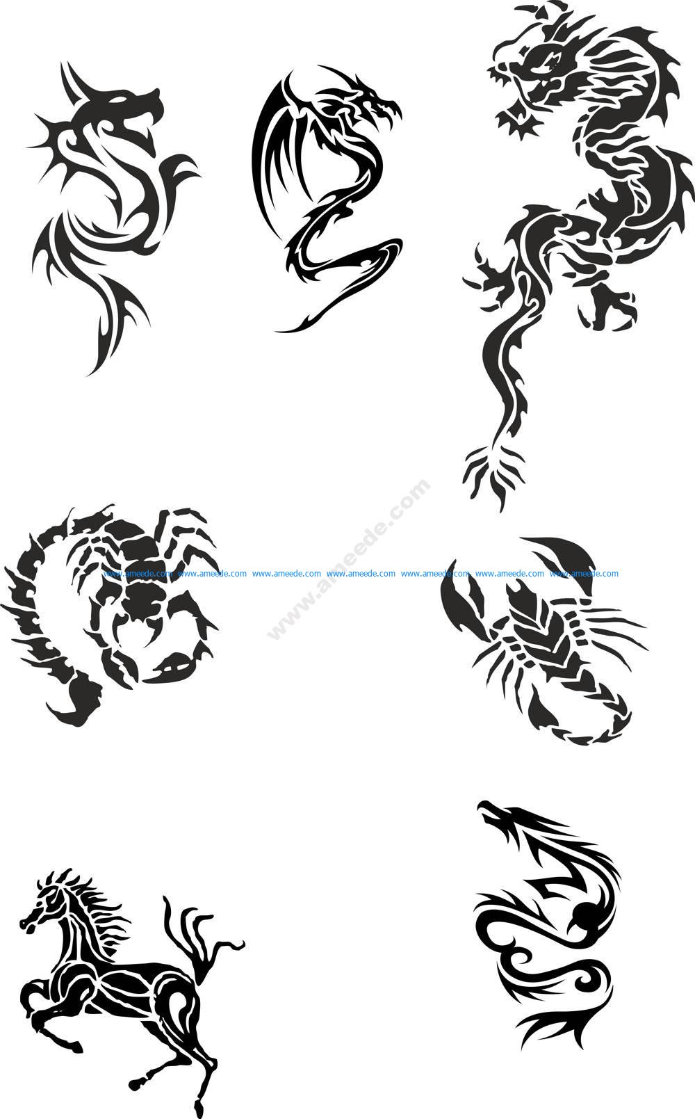 ac655adc07962 Tribal Dragon Tattoo Designs Vector Pack – Amee House
