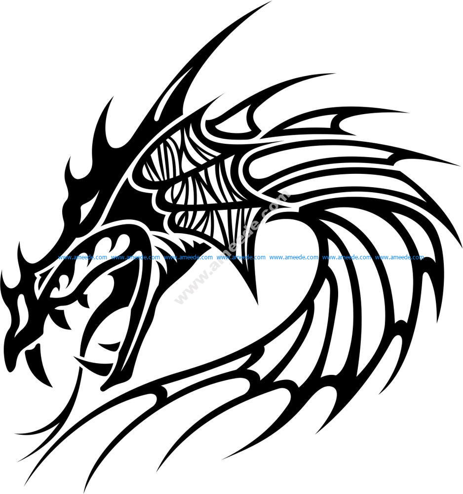 8d79c8a546db0 Tribal Dragon Tattoo Vector – Amee House