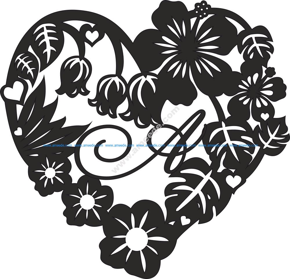 Valentine Heart Rose Flower Frame