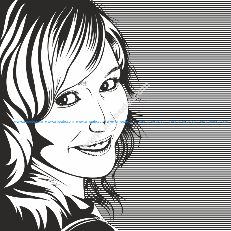 Vector Drawing of Woman in Black and White