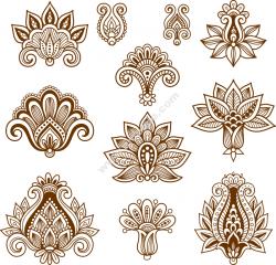 Vector Handdrawn Abstract Henna Mehndi Paisley