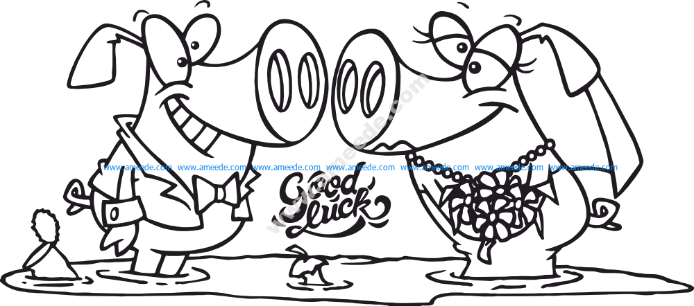 Vector cartoon pig ceremony