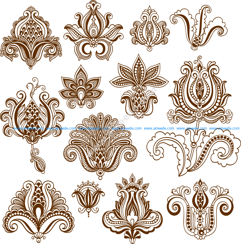 Vector mehndi designs