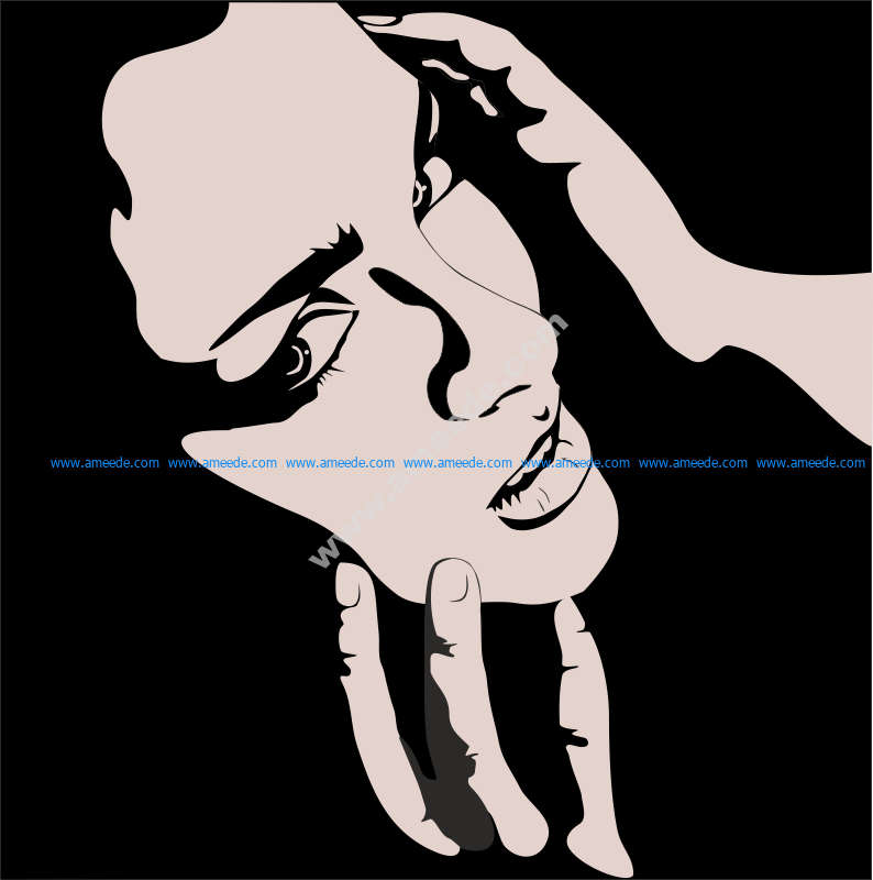 Vector of Woman with hands on face