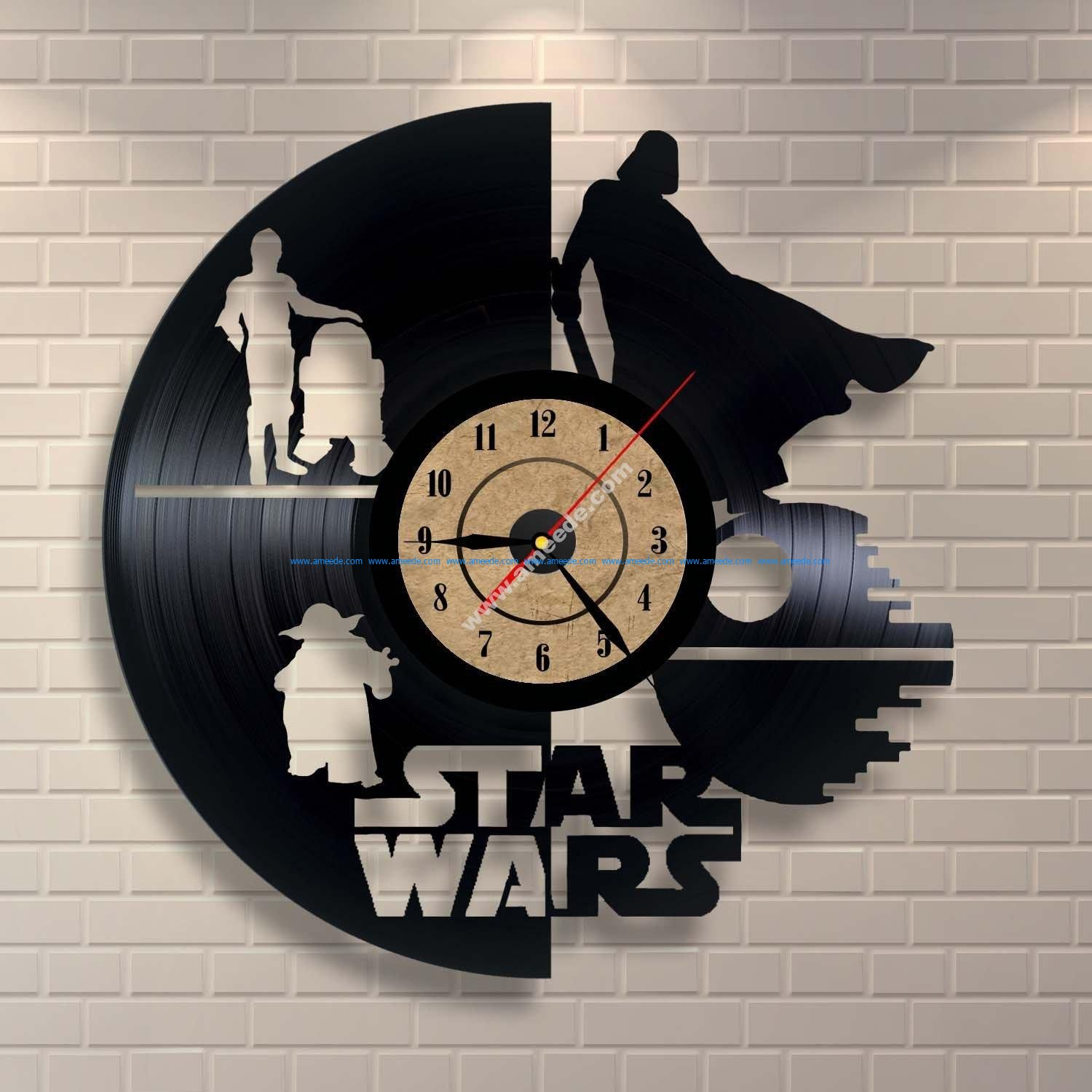 Vinyl Record Clock Star Wars Wall Decor