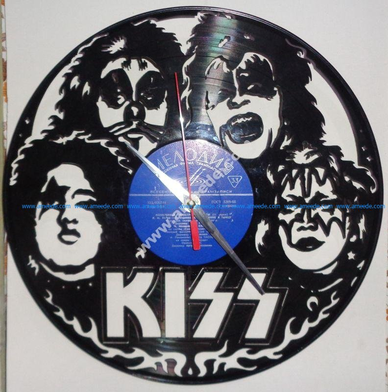 Vinyl Record Wall Clock Kiss