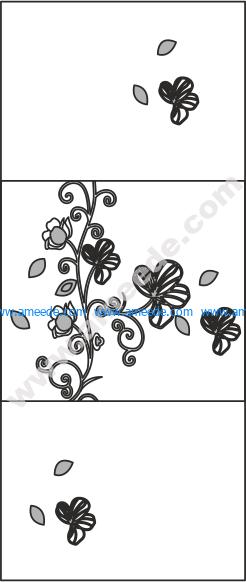 Wardrobes Doors Floral Design Vector