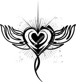 Winged Heart Tattoo Design