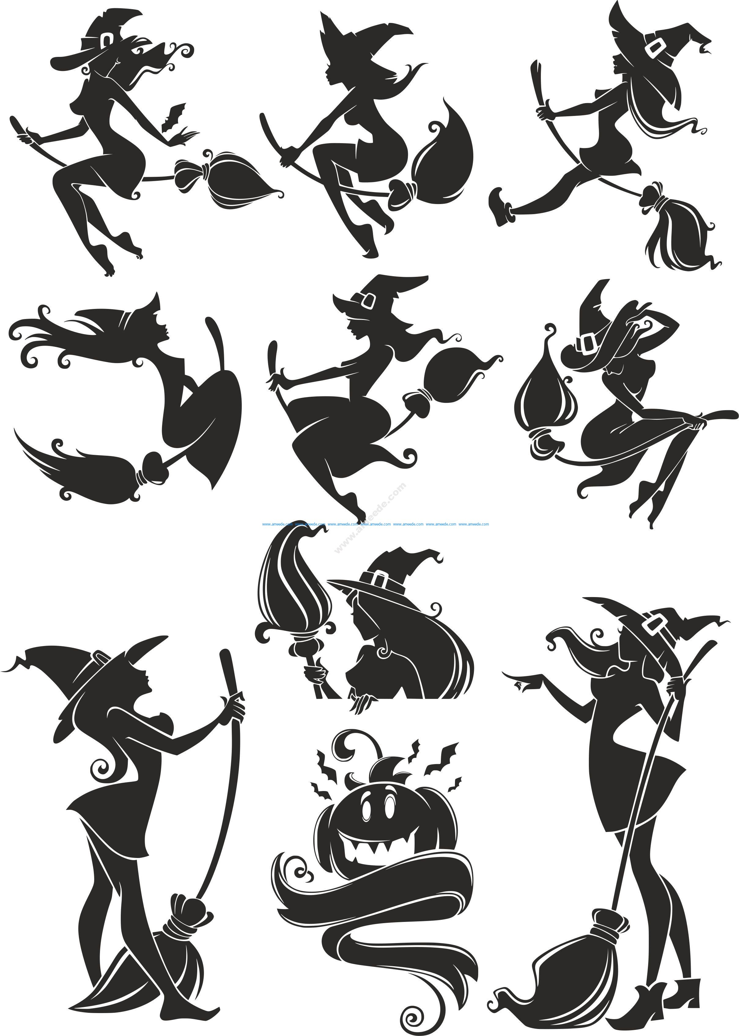 Witch Silhouette Vectors