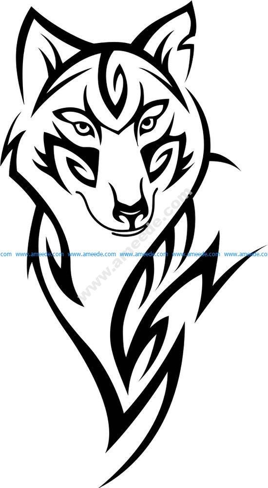 Wolf Head Tattoo Design Vector